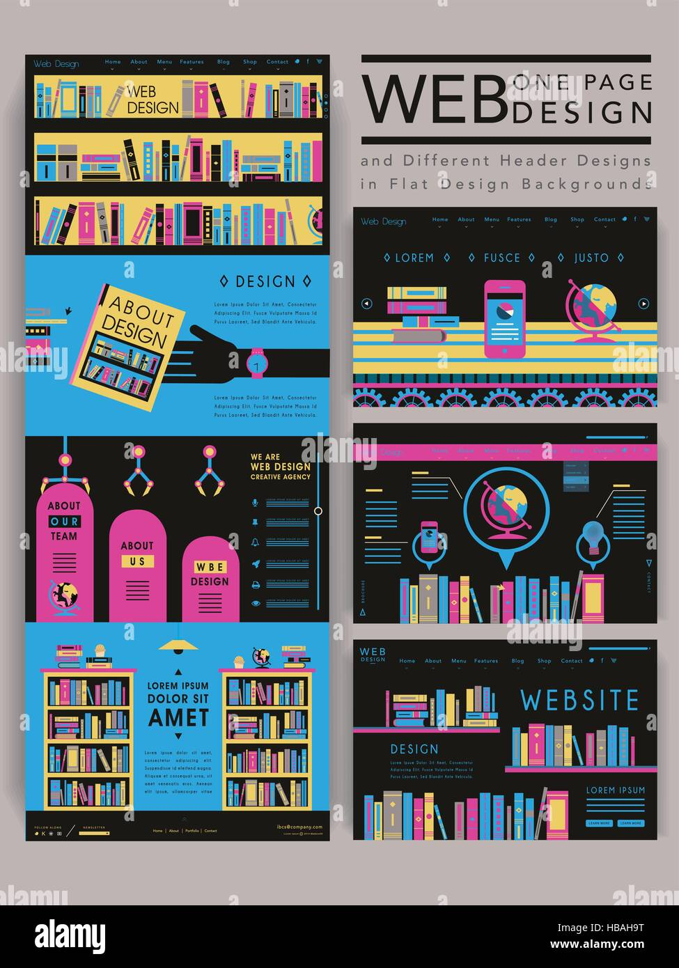 colorful modern one page website template design with library scene