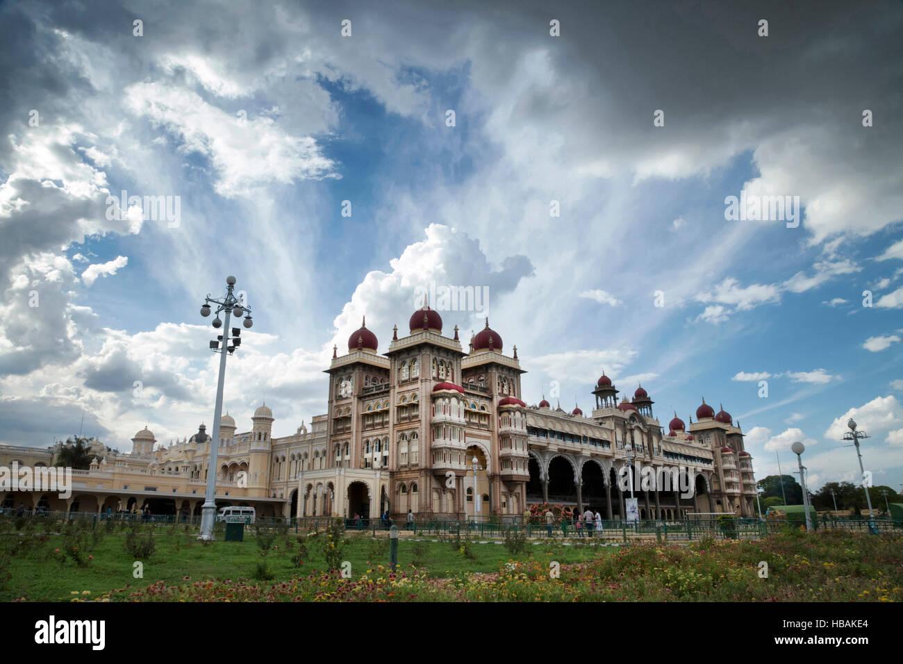 The Palace of Mysore, Mysore, Karnataka India. Official residence of the Wodeyars — rulers of Mysore. It houses - Stock Image
