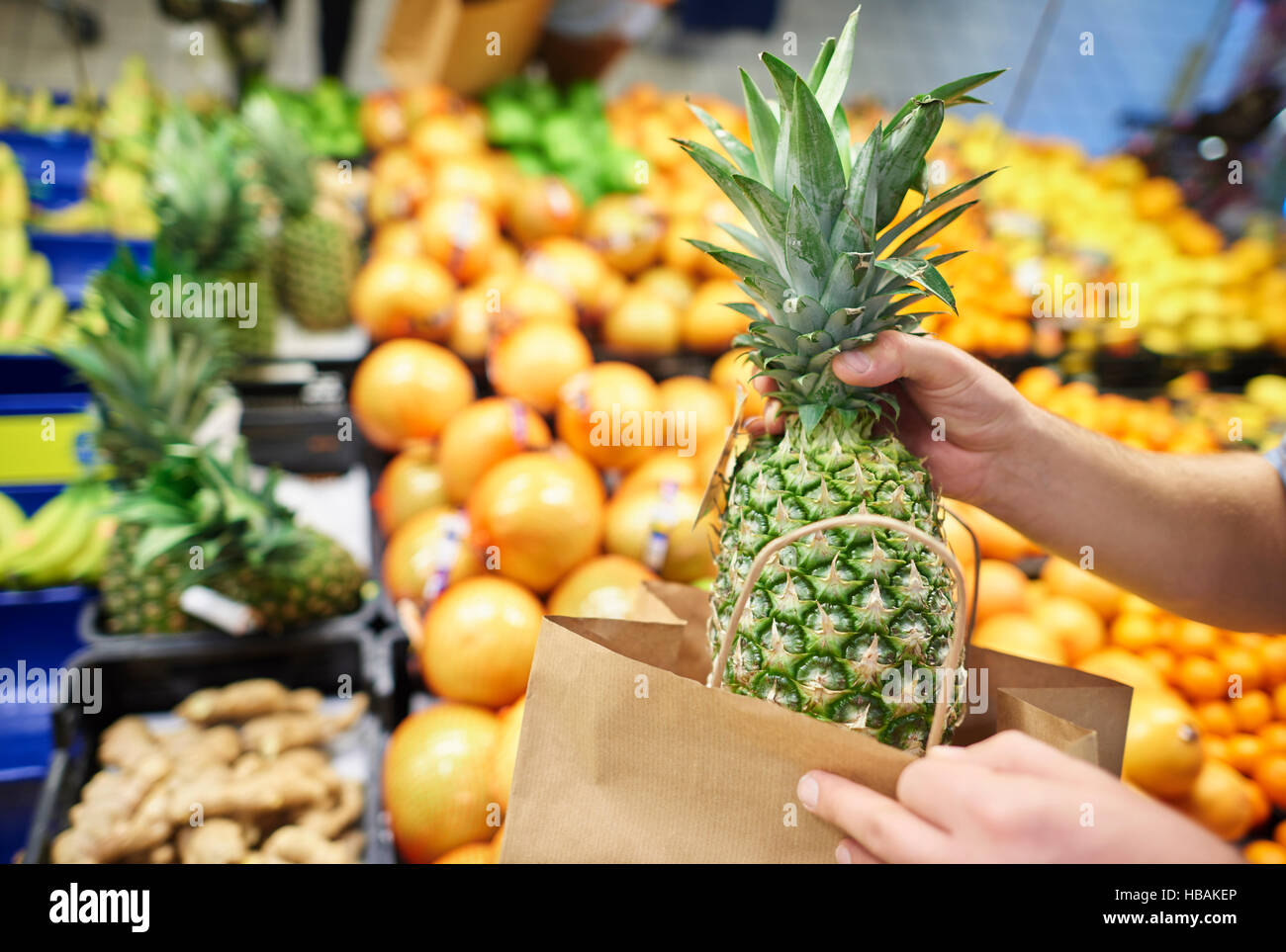 Close up of ripe and tasty pineapple - Stock Image