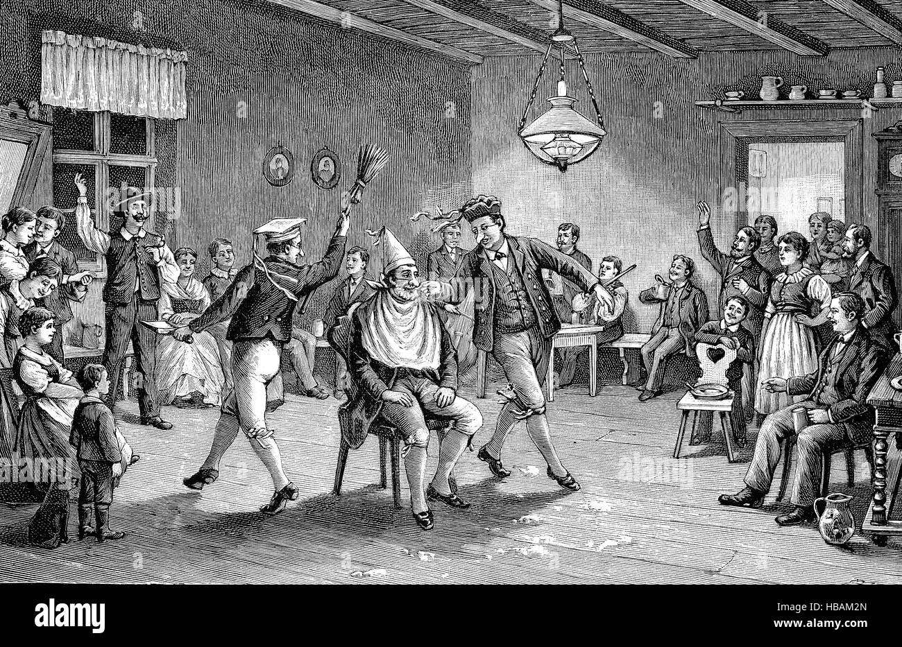 the barber dance, a old custom in Pomerania, hictorical illustration from 1880 - Stock Image