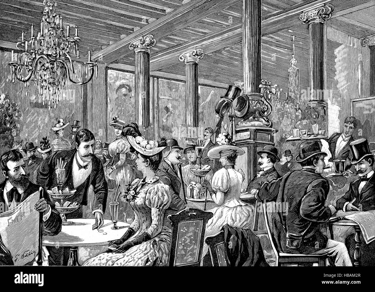 the restaurant Cafe Bauer in Berlin, Germany, hictorical illustration from 1880 - Stock Image