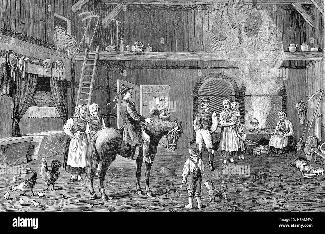 Wedding customs, Hochzeitsbitter, auch Hochzeitslader, Wedding loafer, Pomerania, hictorical illustration from 1880 - Stock Image