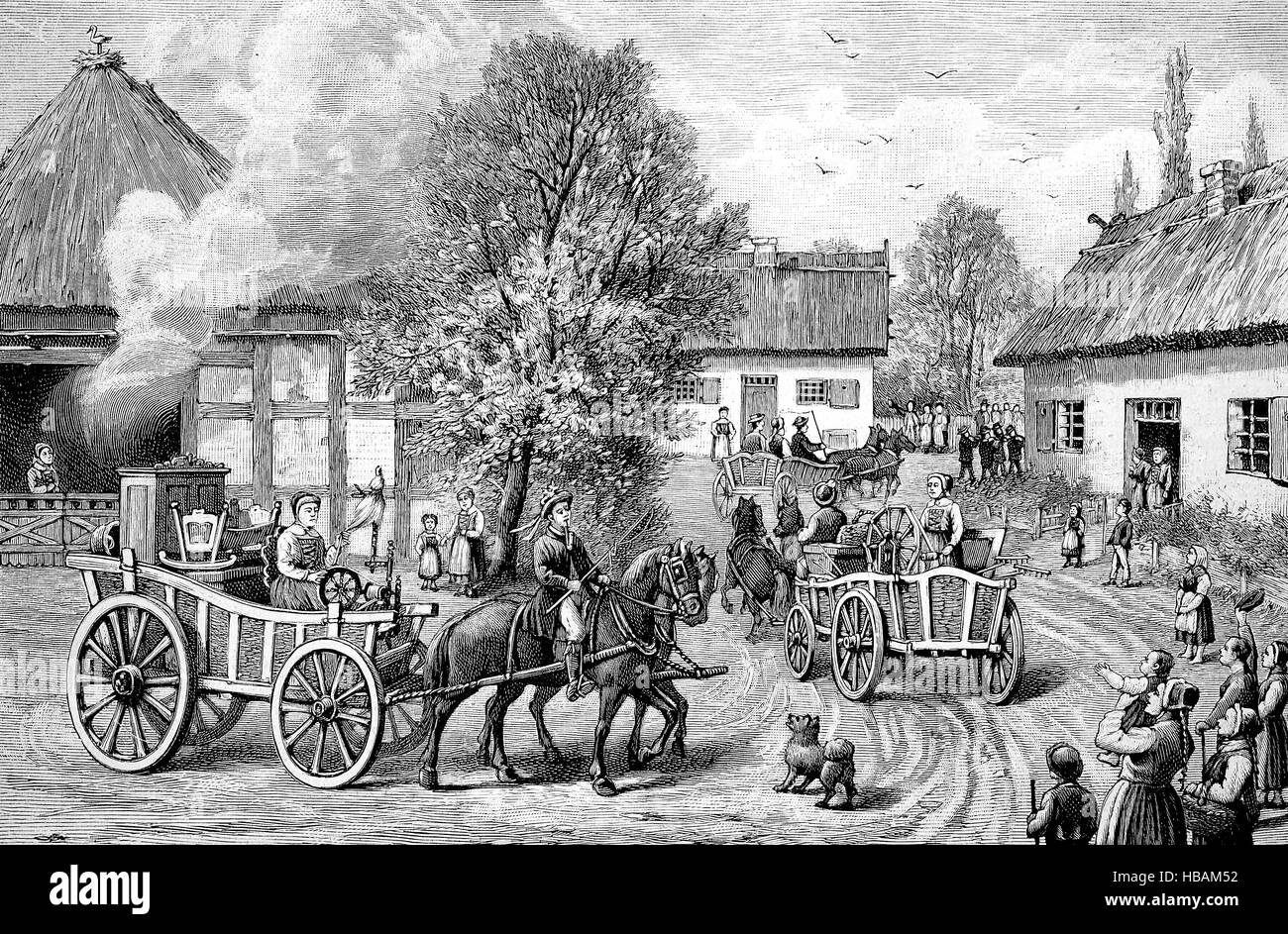 Wedding customs, Dowry tour, Pomerania, hictorical illustration from 1880 - Stock Image
