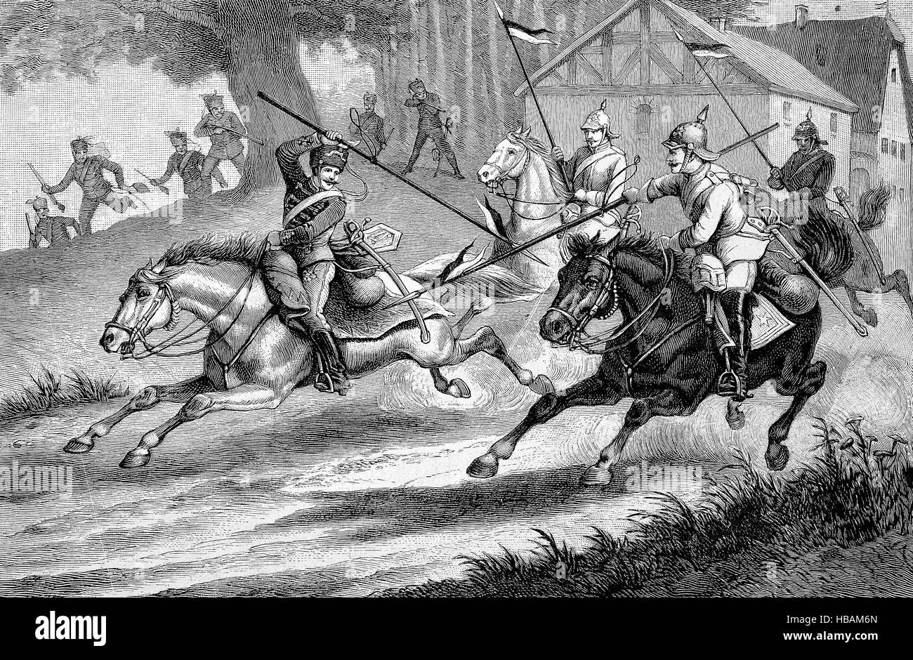 Lance armed Prussian hussars and cuirassiers, hictorical illustration from 1880 Stock Photo