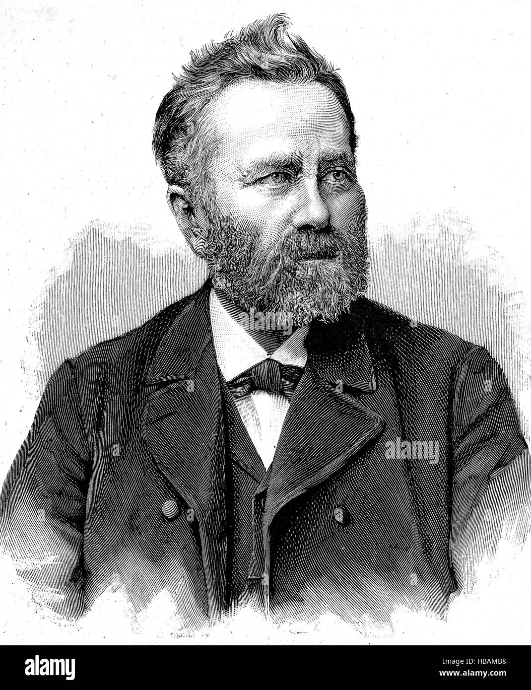 August Beyer, 30. April 1834 i- 18. April 1899 in Ulm, was a neogotic master-builder, Muensterbaumeister, hictorical - Stock Image
