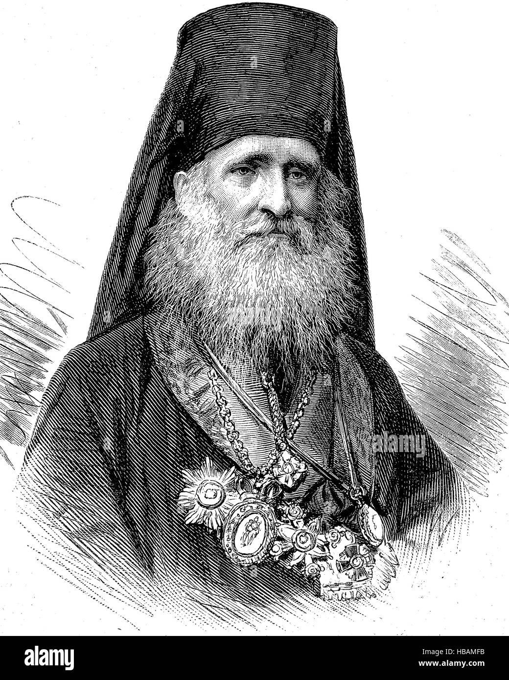 Michail, Metropolitan bishop of Serbia, born 1830, hictorical illustration from 1880 - Stock Image