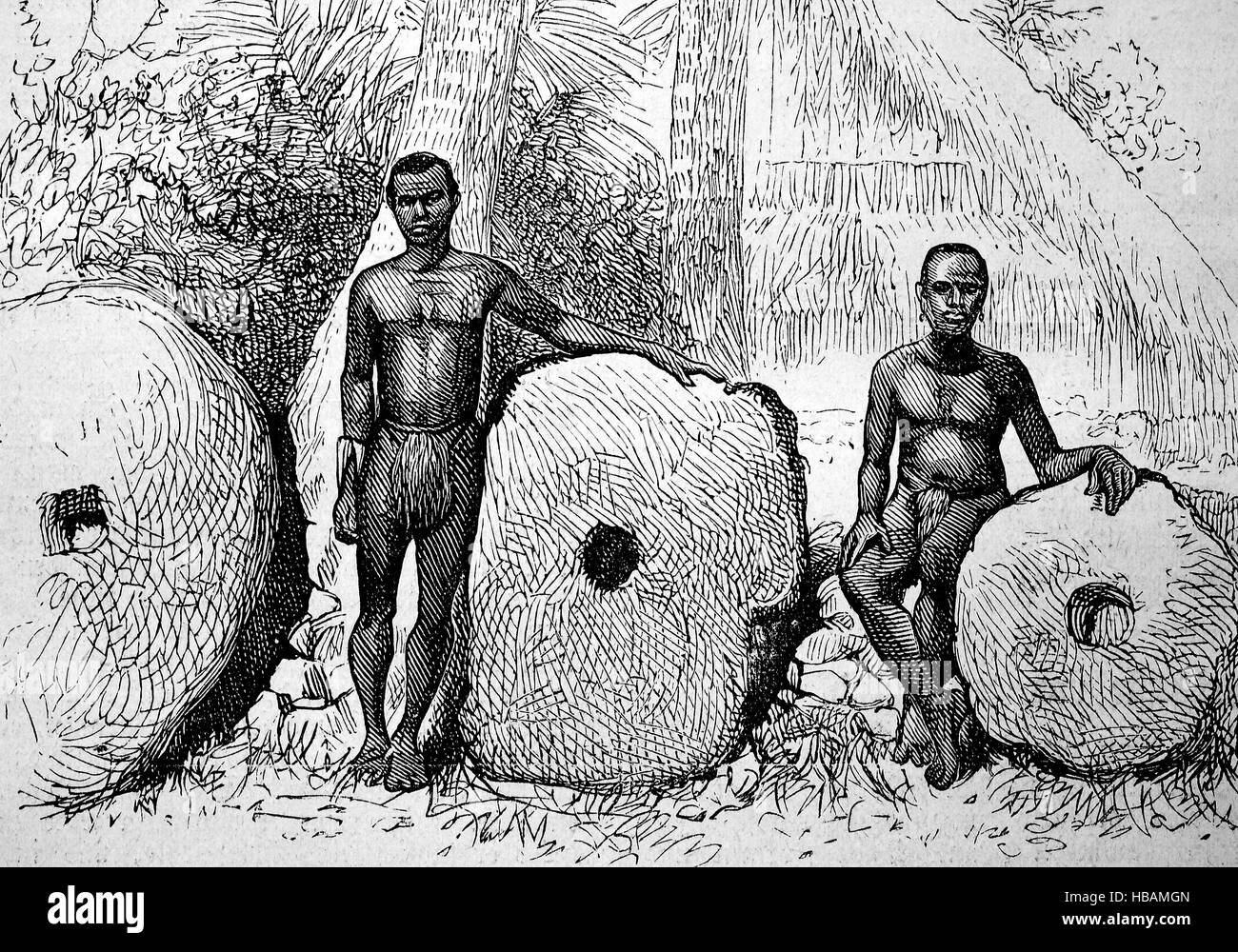 Rai, or stone money circular stone disks carved out of limestone, quarried on several of the Micronesian islands, - Stock Image