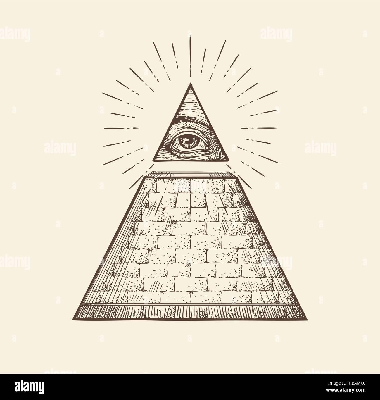 All Seeing Eye Pyramid Symbol New World Order Hand Drawn Sketch