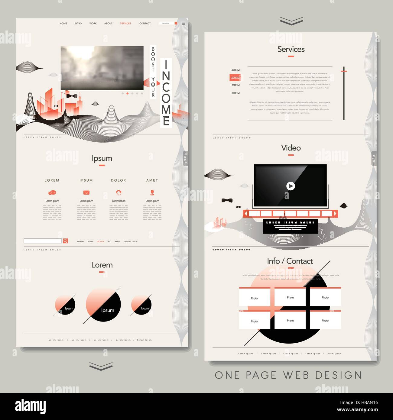 contemporary one page website design with line elements Stock Vector ...