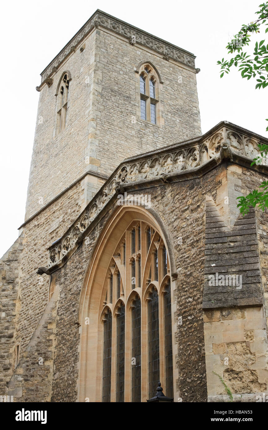 Square stone tower of the former church of St Peter-in-the-East in Queen's Lane,Oxford, England. - Stock Image