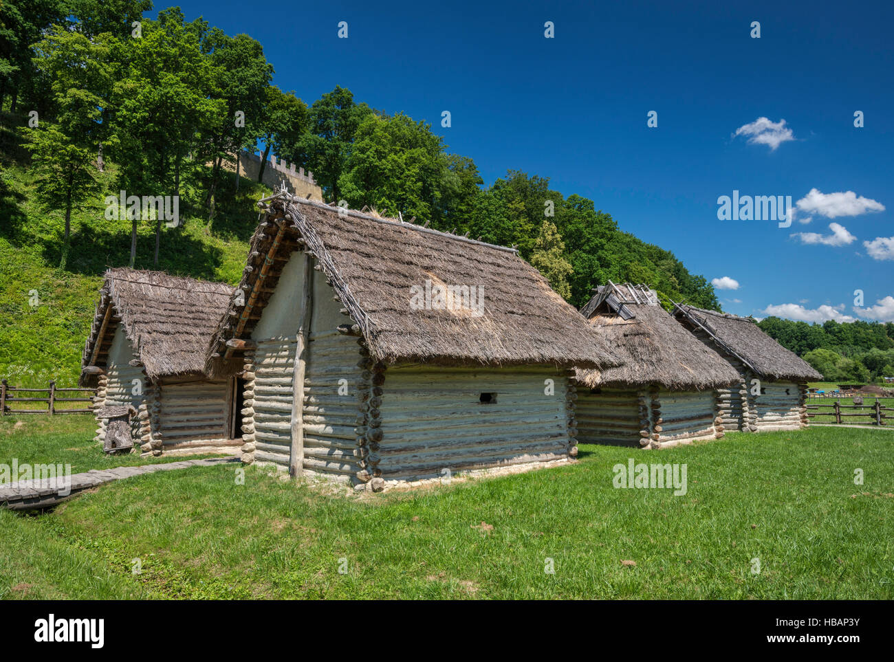 Slavonic cottages, 9th century, reconstruction, Carpathian Troy Archaeological Open-Air Museum in Trzcinica, Malopolska, - Stock Image
