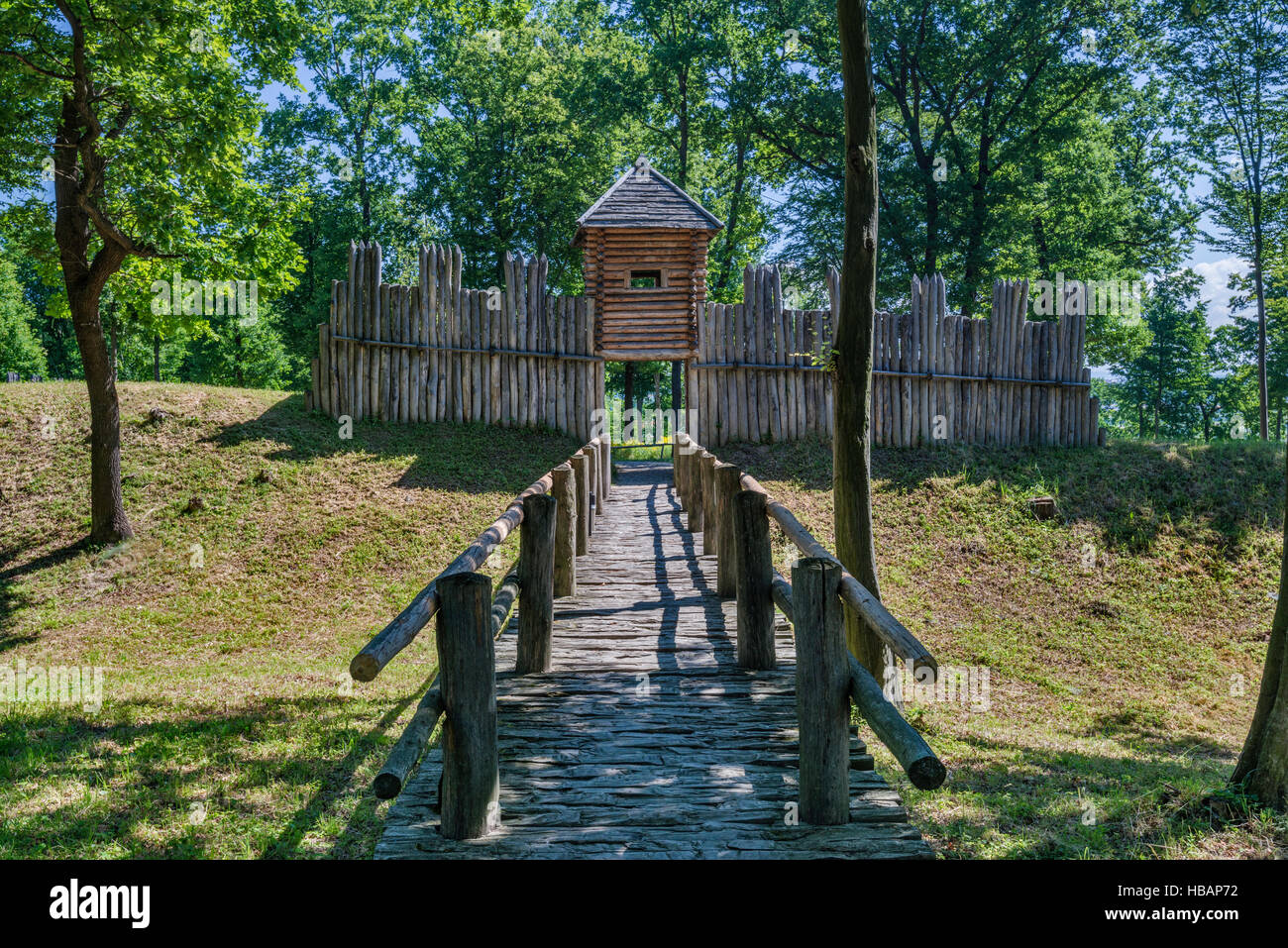 Palisade rampart, 8th-10th cent, reconstruction, Carpathian Troy Archaeological Open-Air Museum in Trzcinica near - Stock Image