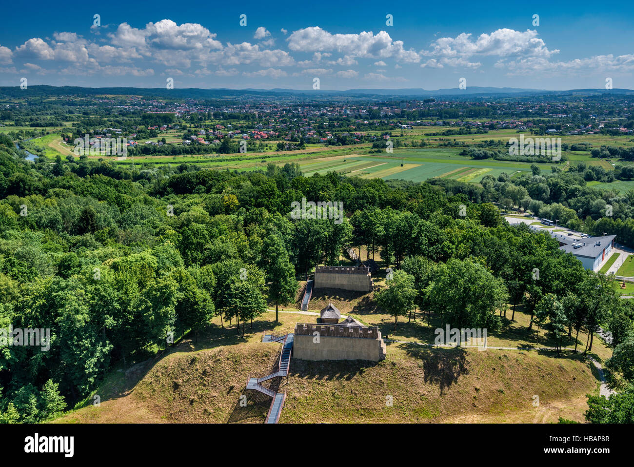 Royal Earthworks, view of fortified settlements from tower, Carpathian Troy Archaeological Open-Air Museum in Trzcinica, - Stock Image