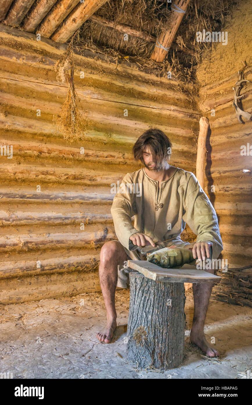 Man preparing food, life-size diorama, Carpathian Troy Archaeological Open-Air Museum in Trzcinica near Jaslo, Malopolska, - Stock Image