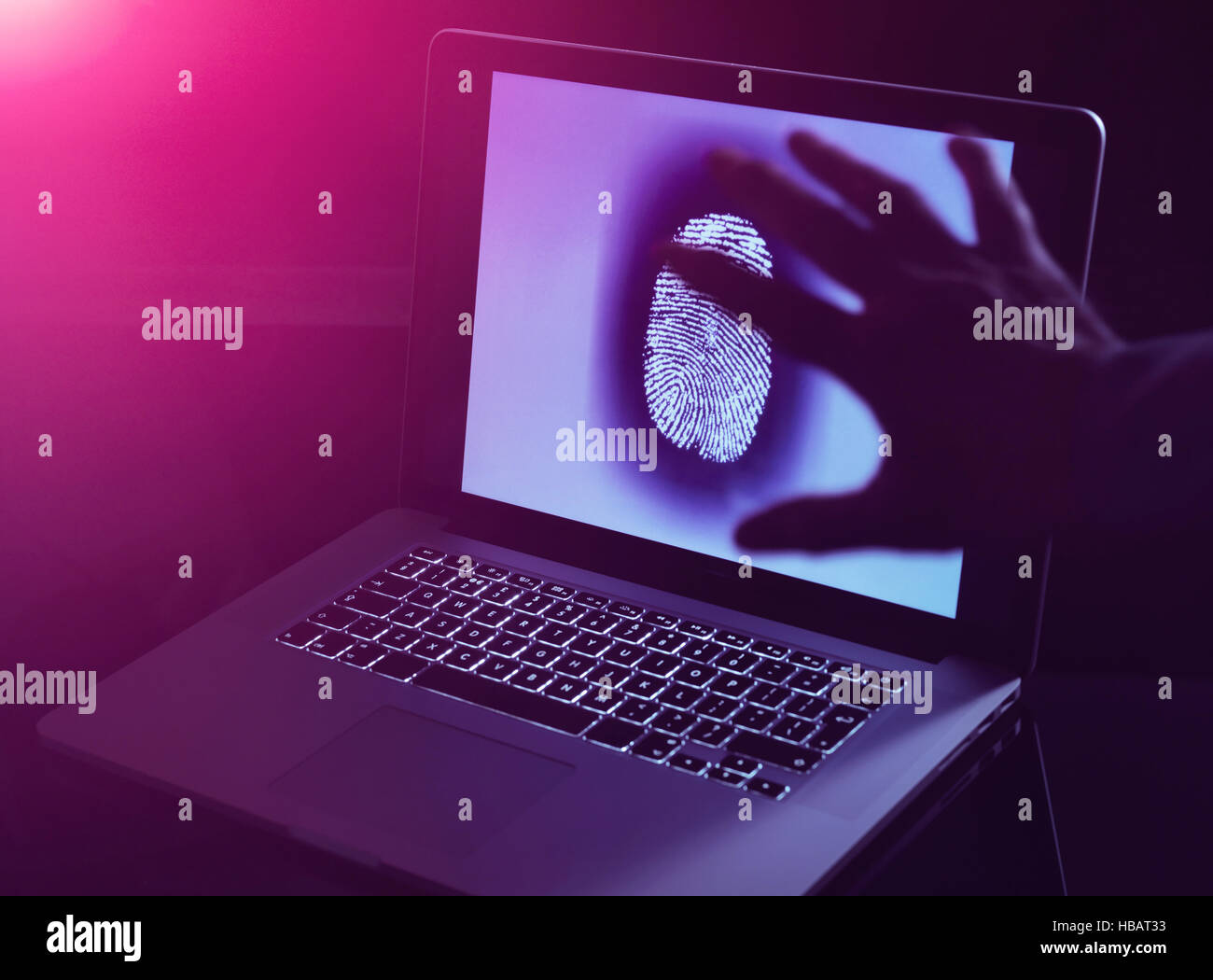Hand grabbing the personnel identity of somebody online - Stock Image