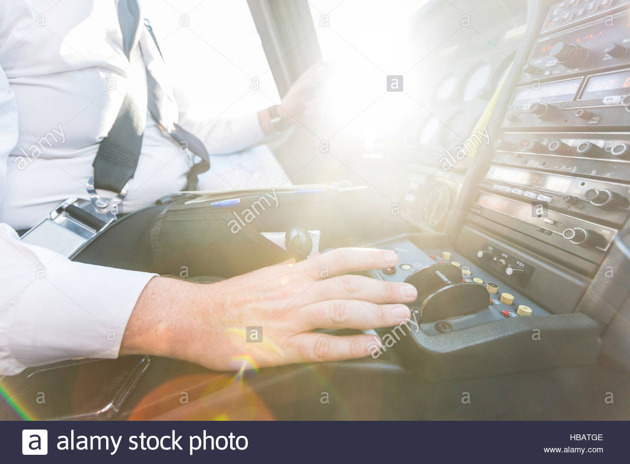 Pilot in cockpit of aircraft - Stock Image