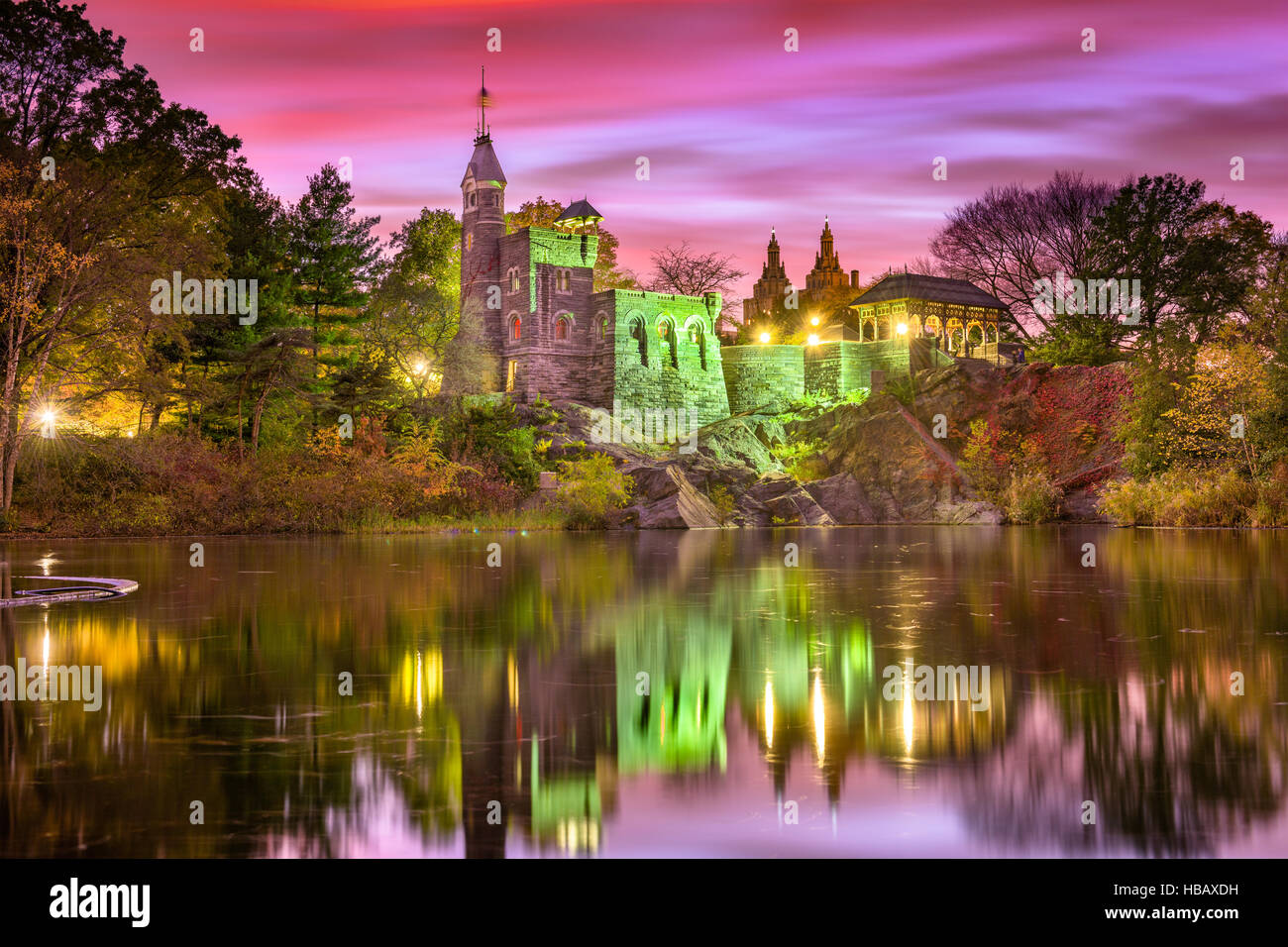 Central Park, New York City at Belvedere Castle during an autumn twilight. - Stock Image