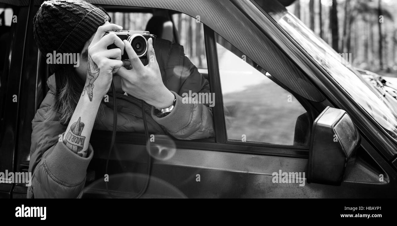Young Man Taking Photos Concept - Stock Image