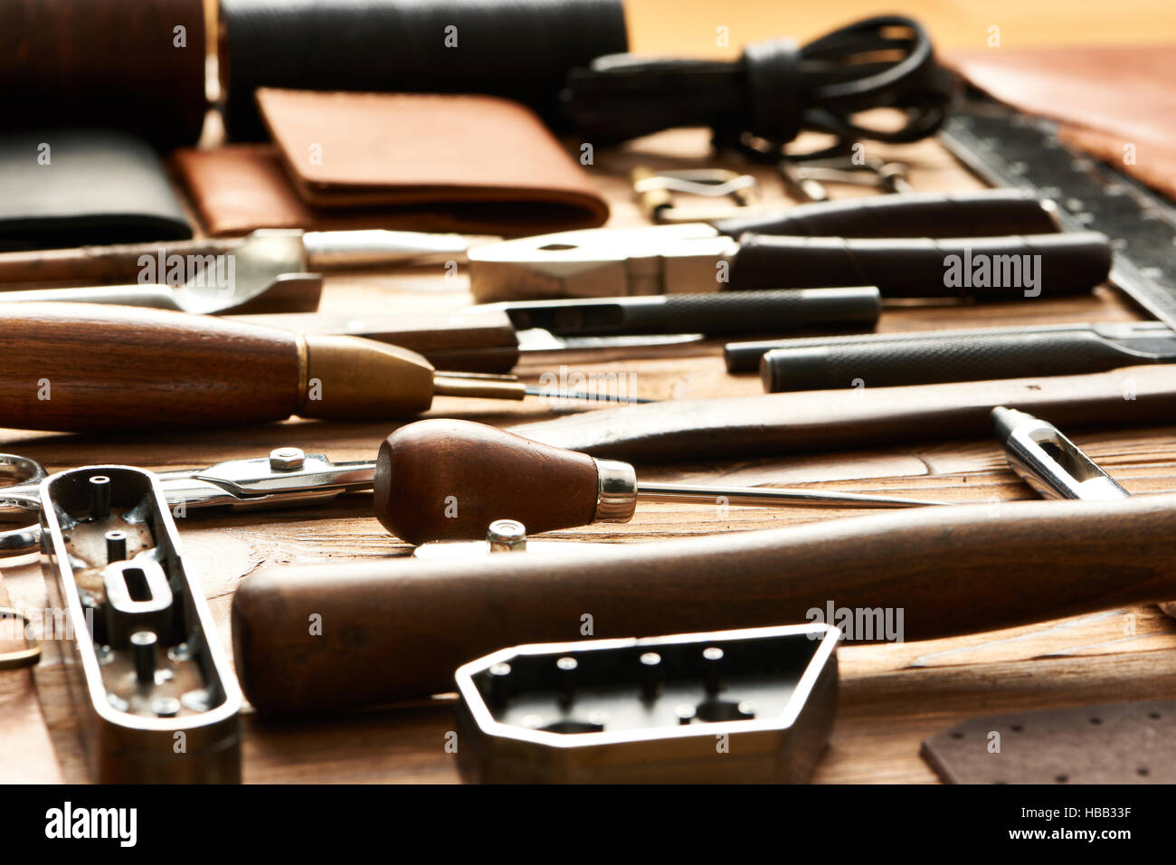 Leather crafting tools - Stock Image