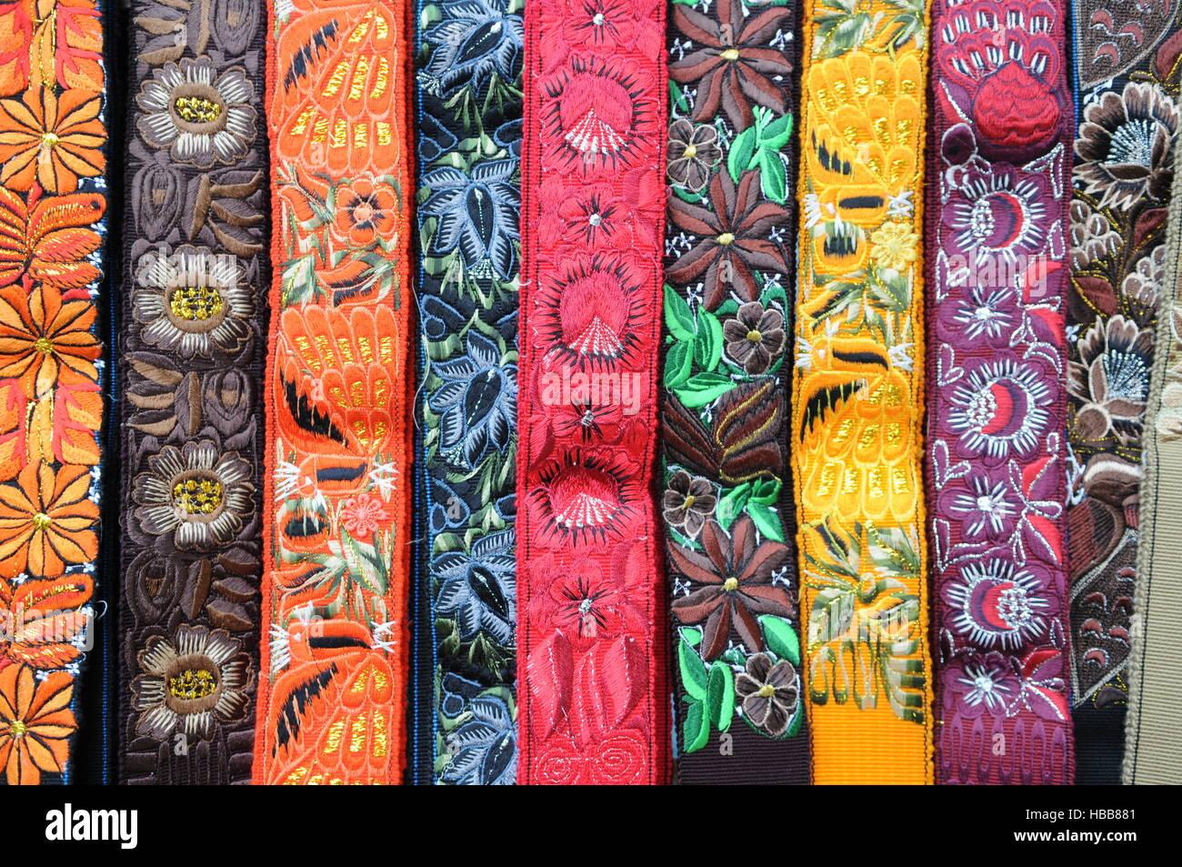 Colorful Mayan textiles, Nahuala, Solola, Guatemala. credit: Kraig Lieb - Stock Image
