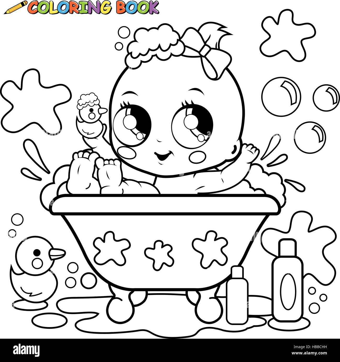 Baby girl taking a bath coloring page Stock Vector Art ...