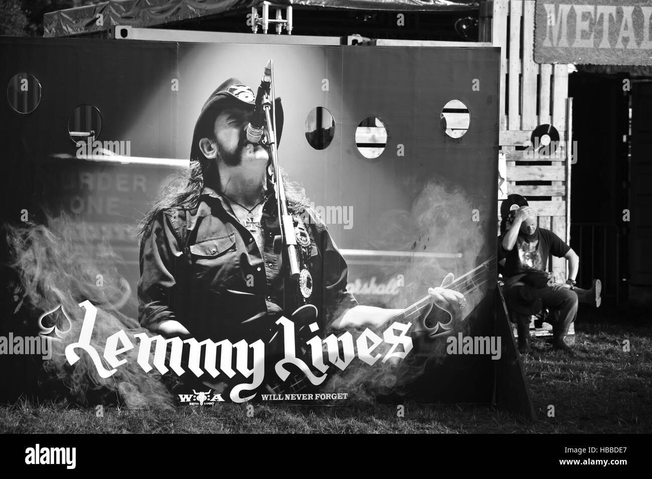 Wacken Open Air 2016, 05.08.2016: Gedenken an Lemmy Kilmister (Motoerhead) auf dem Festival. Editorial use only. - Stock Image