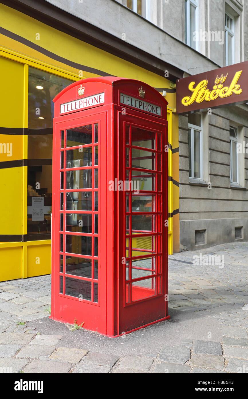 Red Telephone Box Vienna - Stock Image