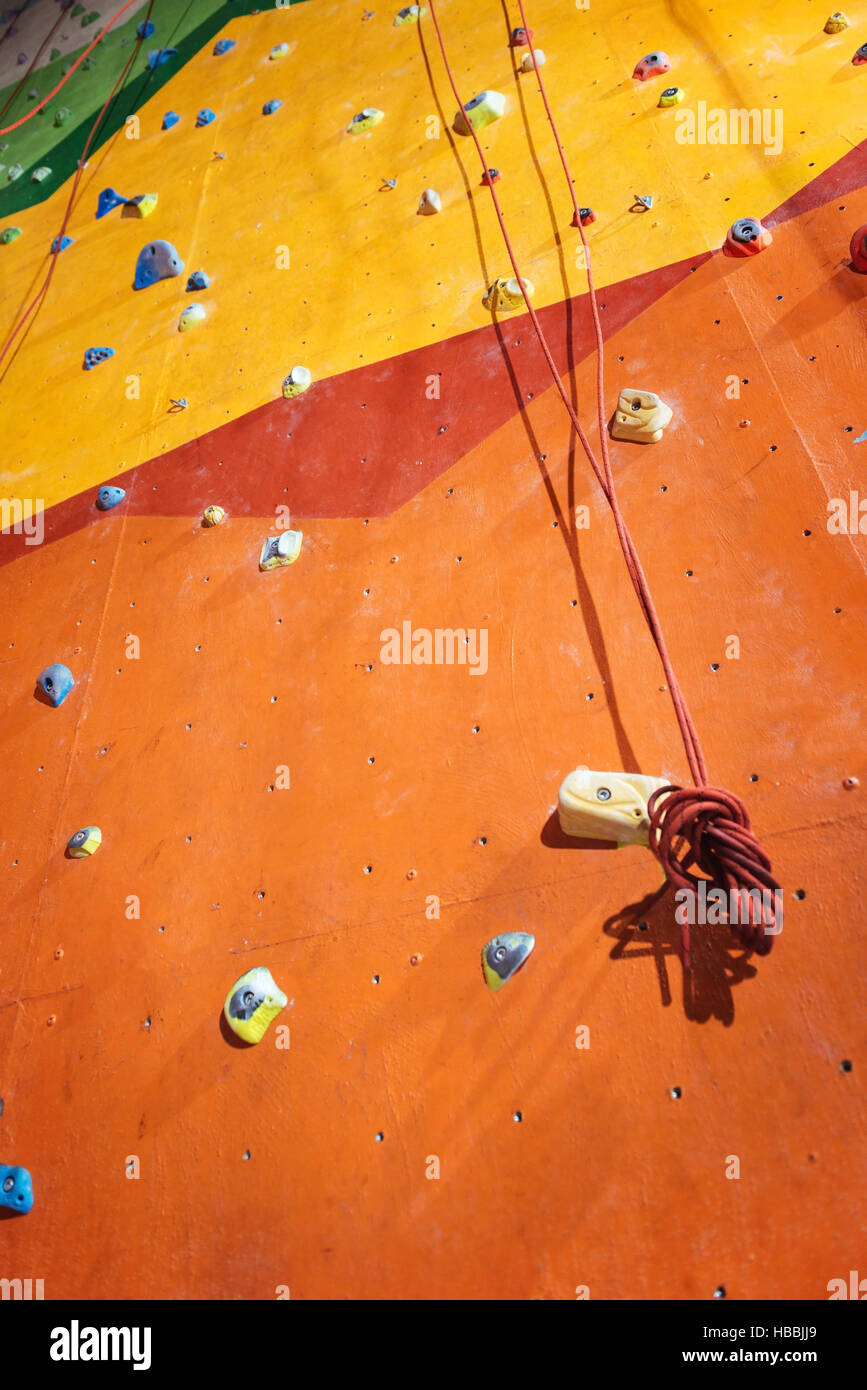 Top view of climbing wall with special equipment - Stock Image