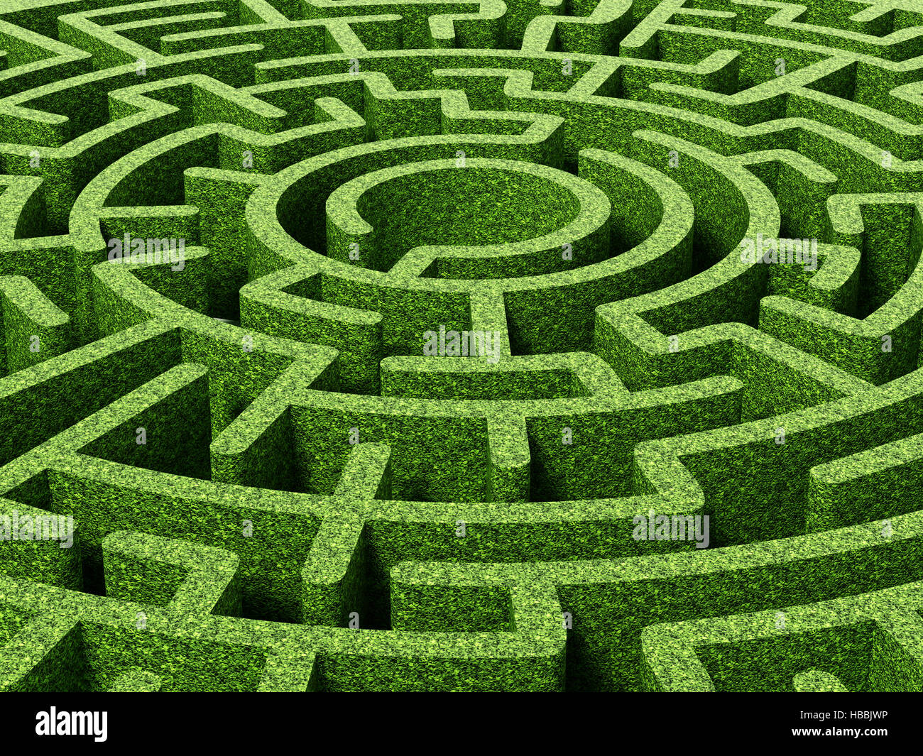 Round garden maze with green bushes as walls. 3D illustration Stock on