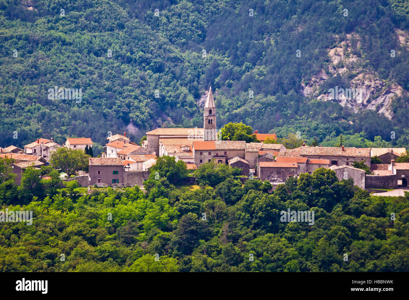 Village of Roc in istrian inland - Stock Image