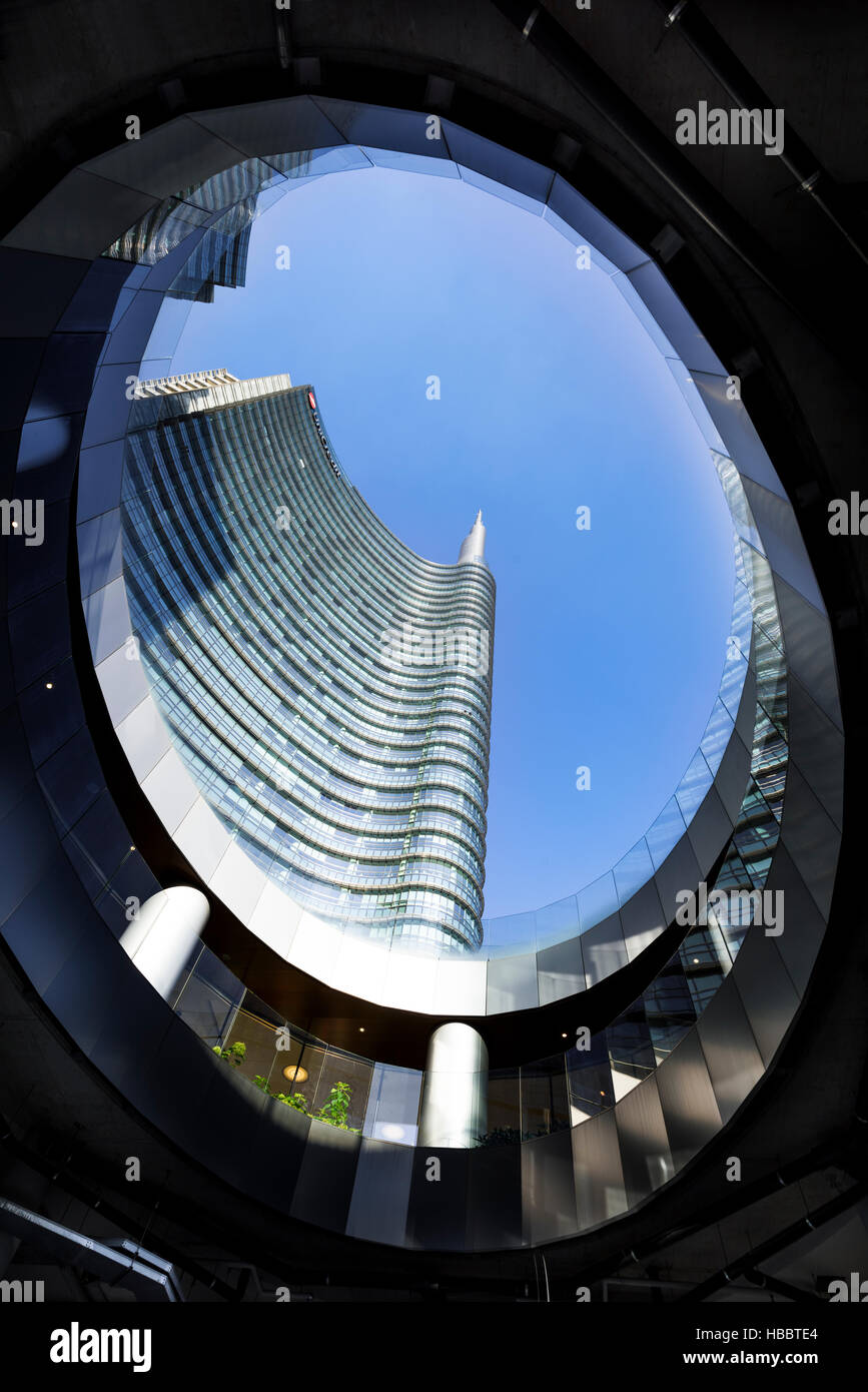 MILAN , LOMBARDIE,  ITALY - AUGUST 30 2015 : New area to Milan Italy. Immediately  the modern  'Porta Nuova' - Stock Image