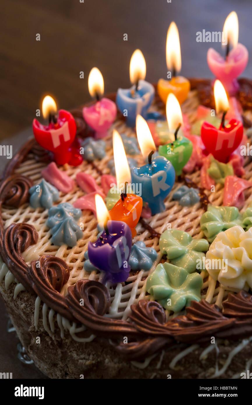 Happy Birthday Cake Burning Candles Stock Photos Happy Birthday