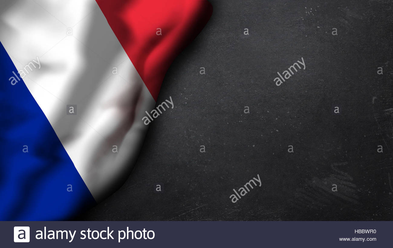 french flag on a chalkboard - Stock Image