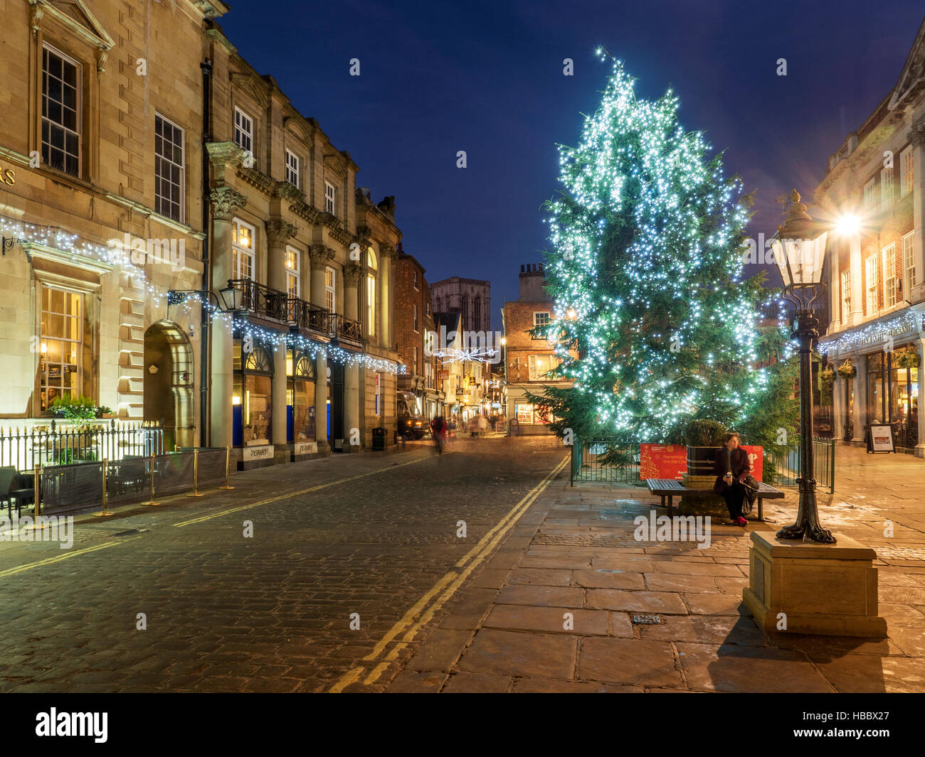 St Helens Square at Christmas at Dusk in York Yorkshire England - Stock Image