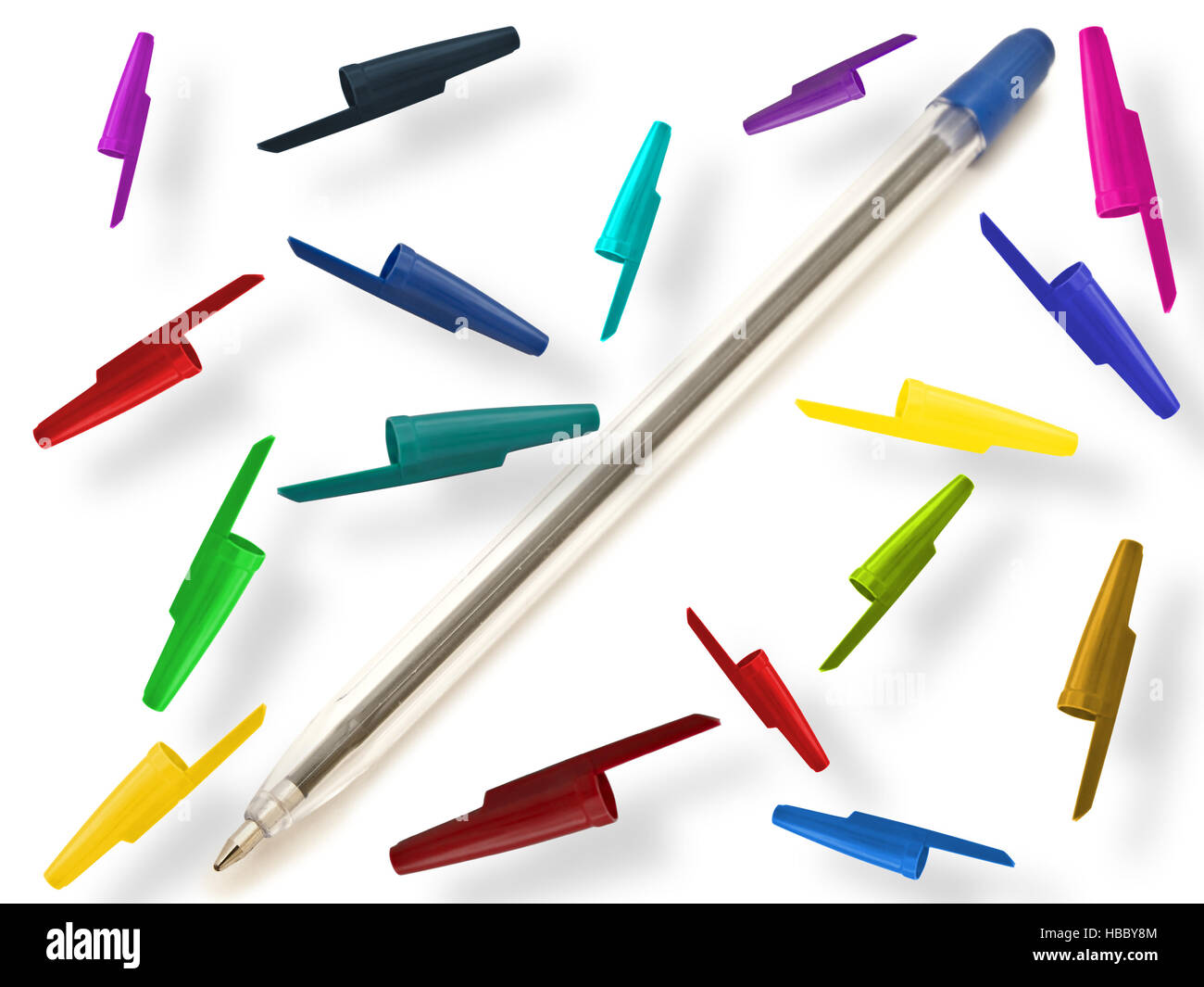 Pen With Multicolored Caps - Stock Image
