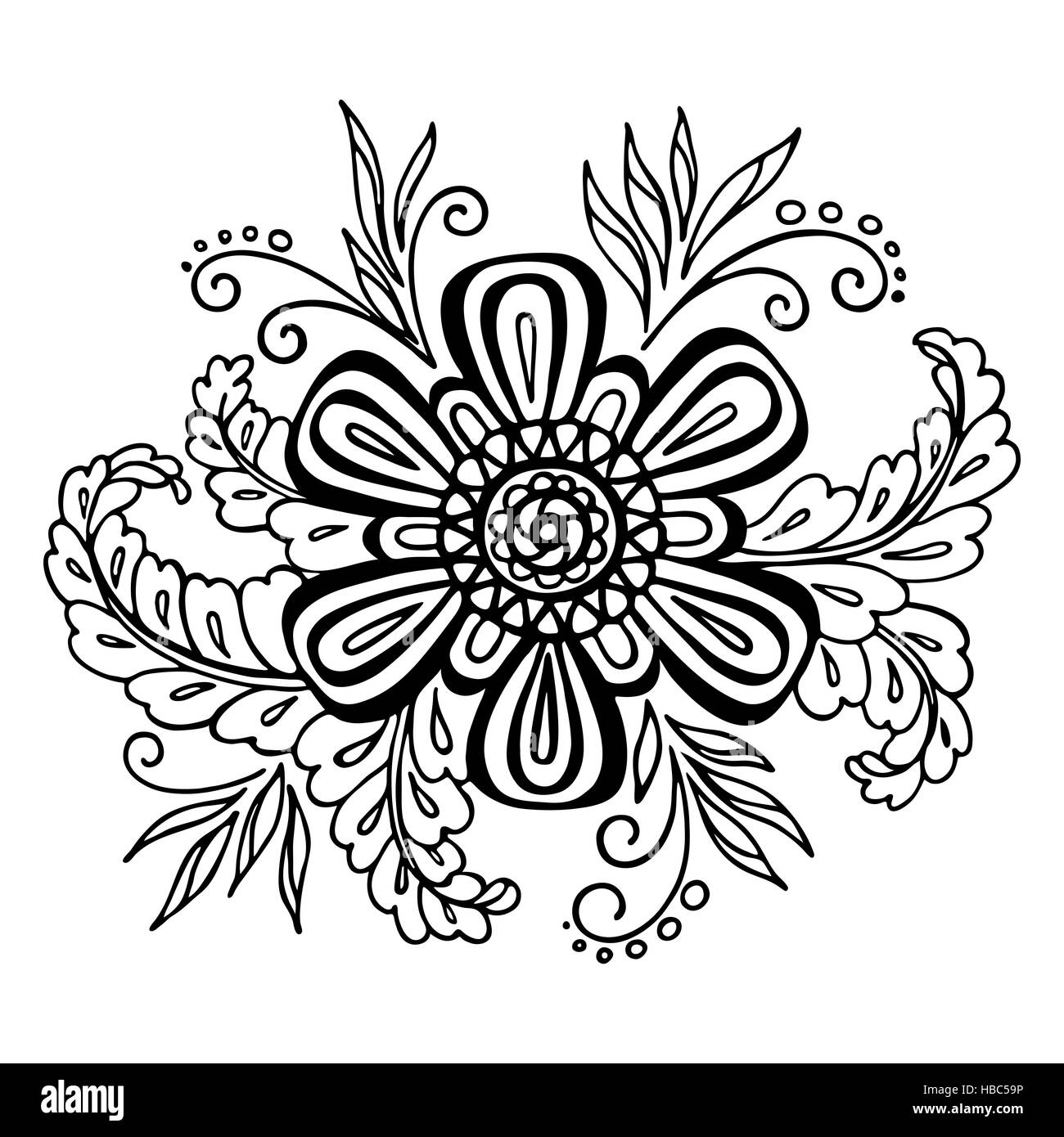 Floral Outline Calligraphic Pattern Stock Photo