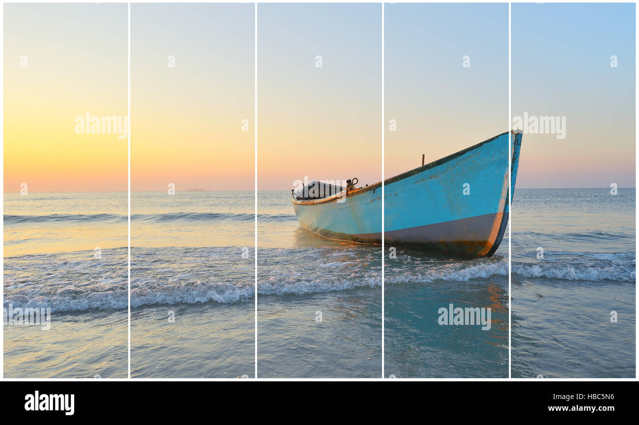 Separate frames of one photo of Fishing boat and sunrise Stock Photo ...