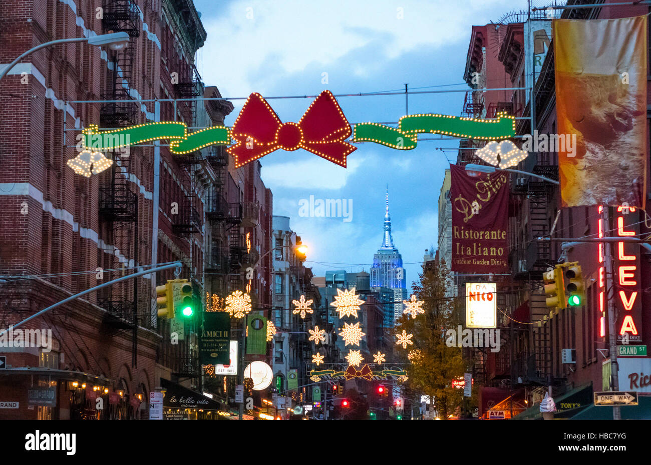 Little Christmas Italy.The Empire State Building Seen From Mulberry Street In
