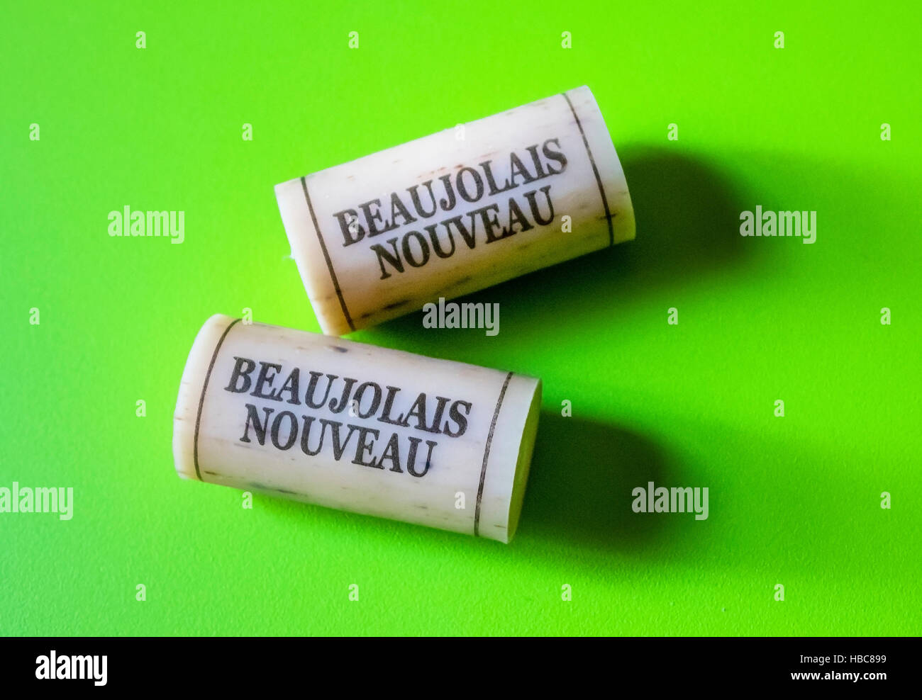 Beaujolais Nouveau synthetic corks - Stock Image