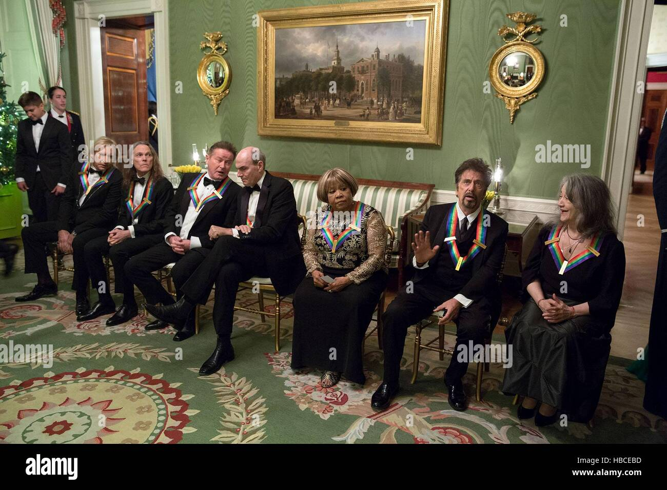 The 2016 Kennedy Center Honors wait before attending a reception in the East Room of the White House December 4, - Stock Image