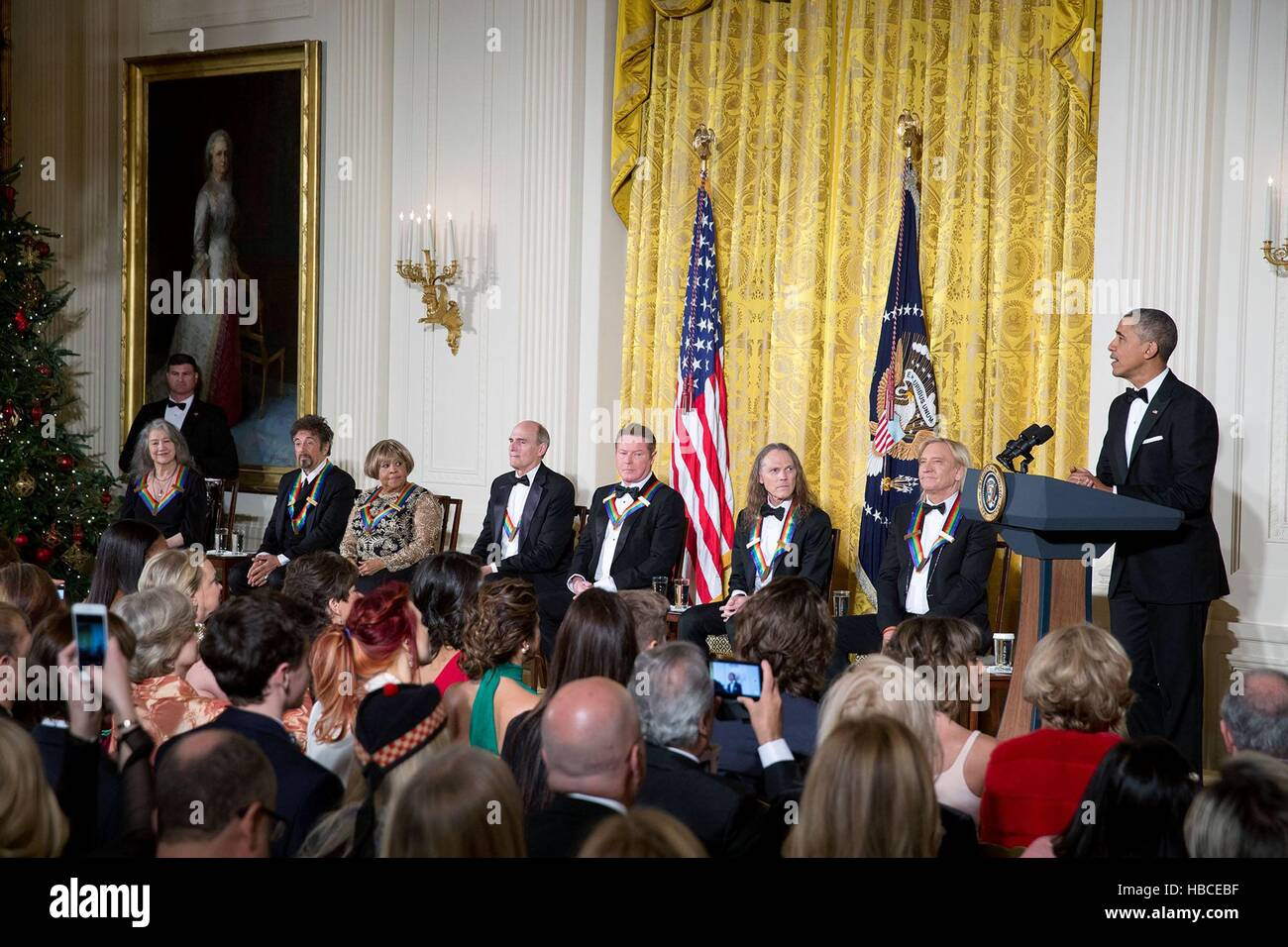 U.S President Barack Obama address recipients of the 2016 Kennedy Center Honors during a reception in the East Room - Stock Image