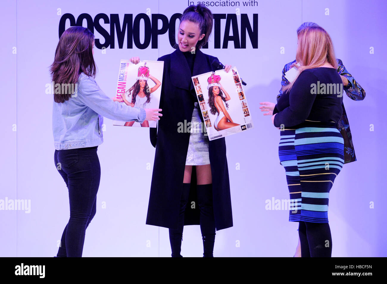 TOWIE star Megan McKenna appeared on the Cosmopolitan Discovered Catwalk today during the fourth day at The Clothes - Stock Image