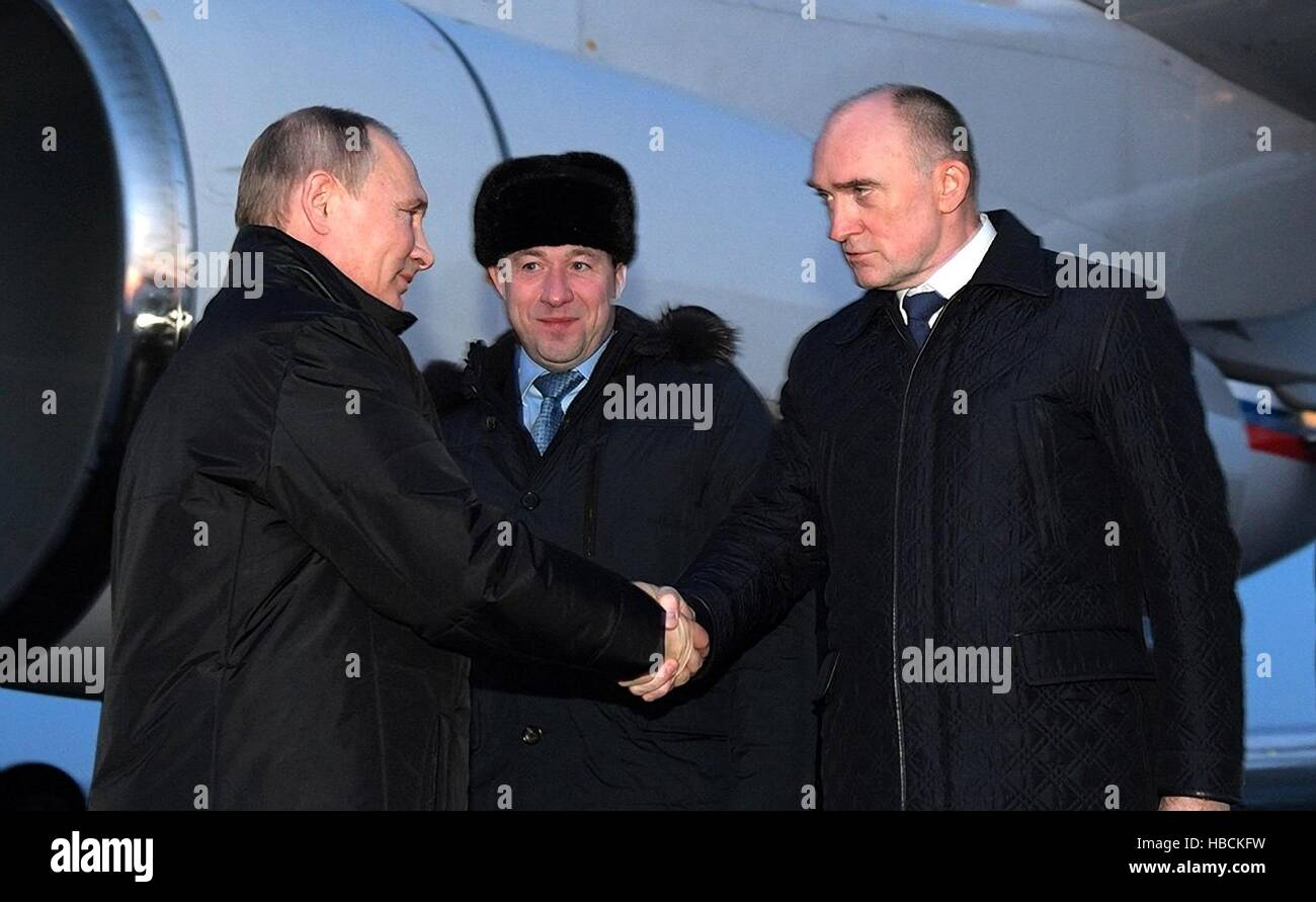 Miass, Russia. 05th Dec, 2016. Russian President Vladimir Putin greets Chelyabinsk Governor Boris Dubrovsky, right, - Stock Image