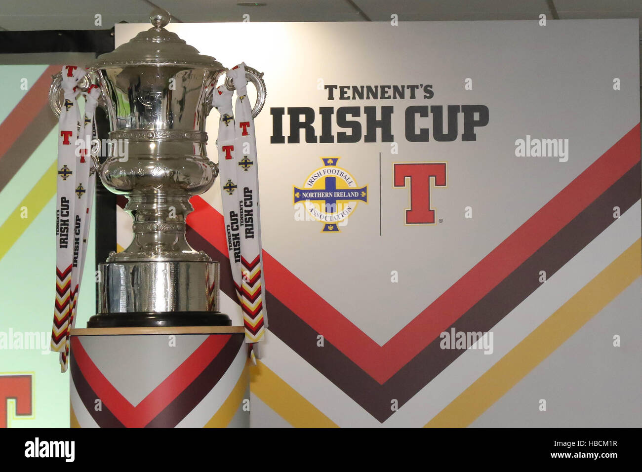 National Football Stadium at Windsor Park, Belfast. 06th December 2016. The draw for the Fifth Round of the Tennent's - Stock Image
