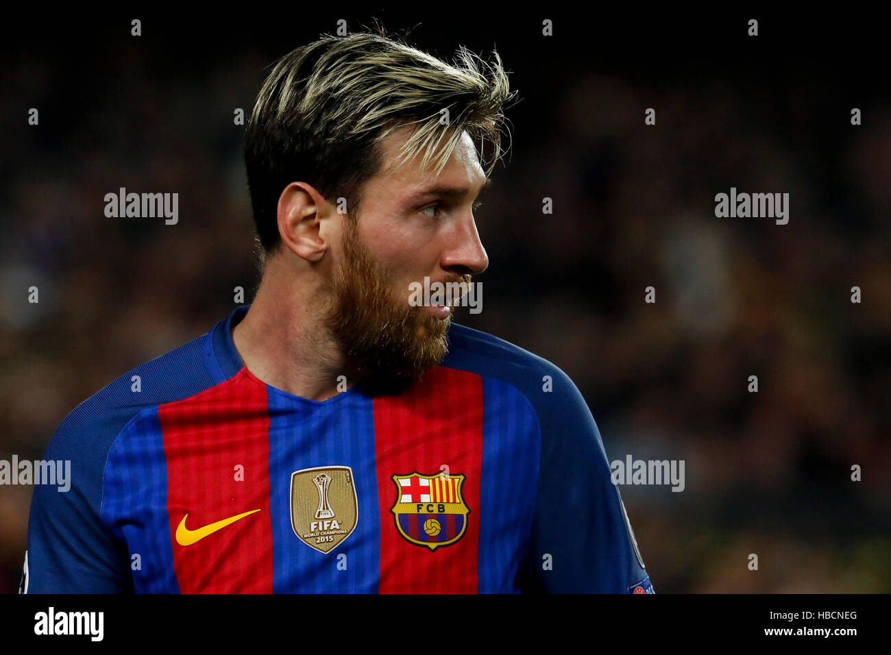 Barcelona, Spain. 6th Dec, 2016. Barcelona's Lionel Messi reacts during the UEFA Champions League match against - Stock Image