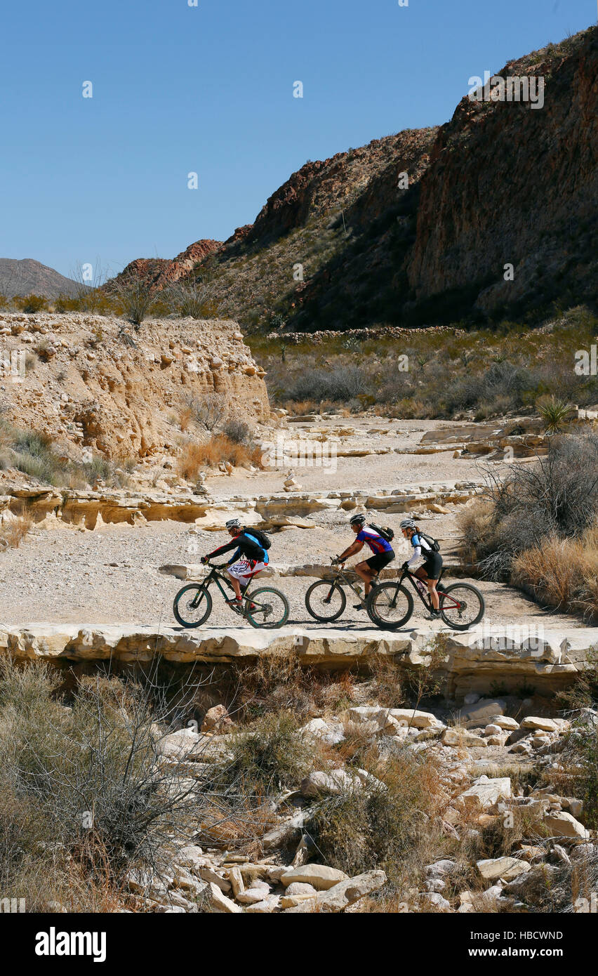 Mountain biking Big Bend Ranch State Park in west Texas. Stock Photo
