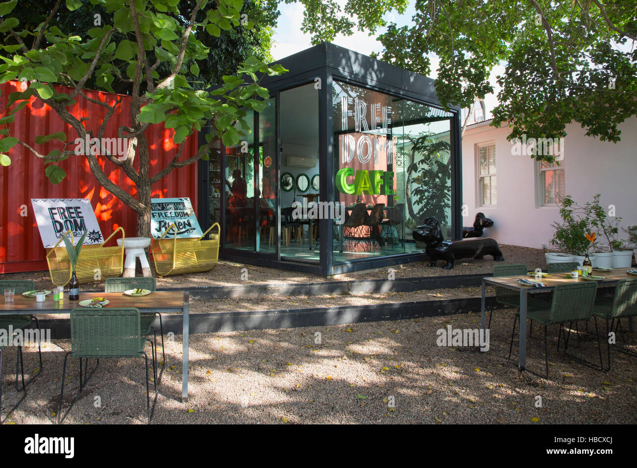 Freedom cafe at Concierge Boutique Bungalows, Durban, KwaZulu-Natal, South Africa - Stock Image