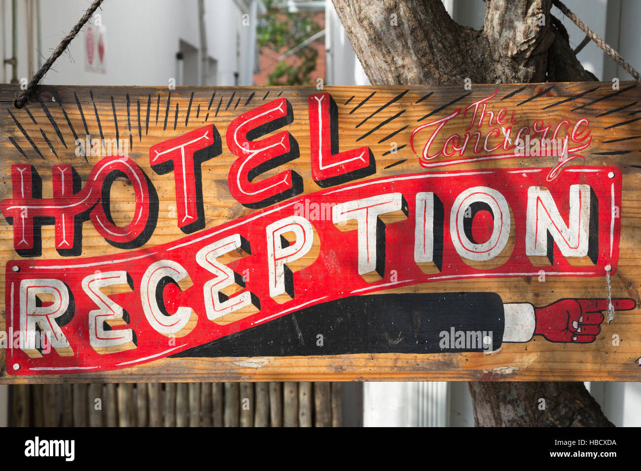 Freedom cafe at Concierge Boutique Bungalows, sign for reception, Durban, KwaZulu-Natal, South Africa, - Stock Image