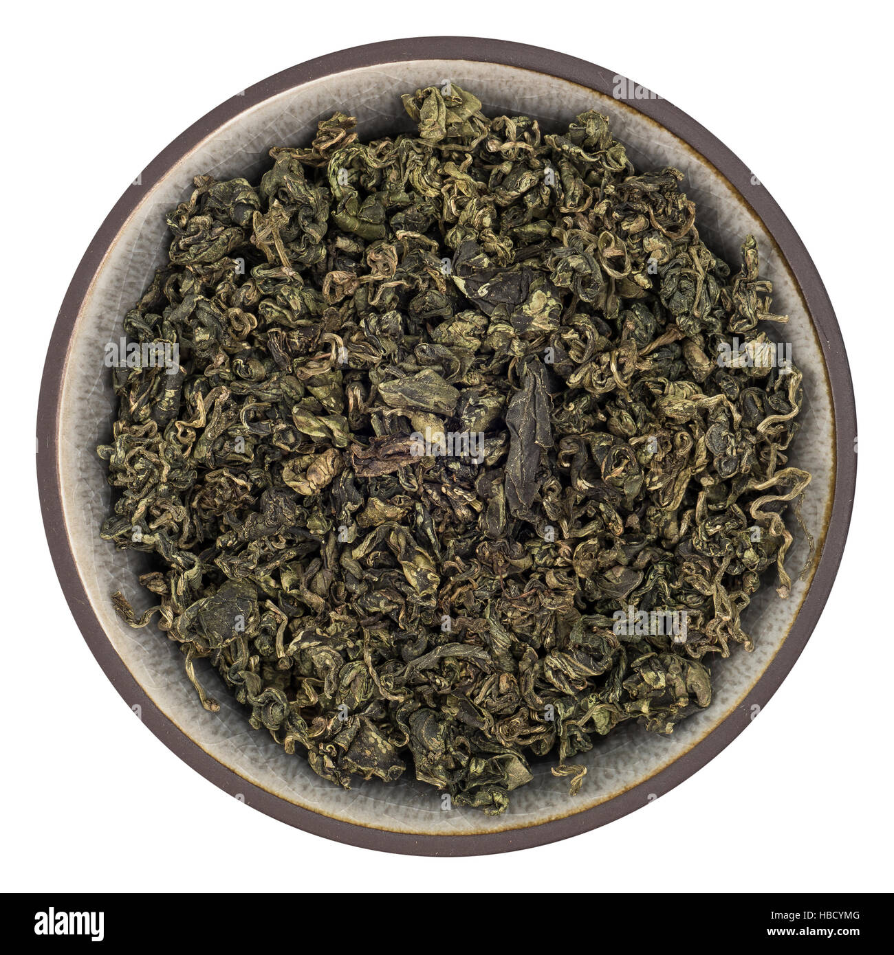 Organic Jiaogulan Whole Leaves Tea in Bowl Isolated Top