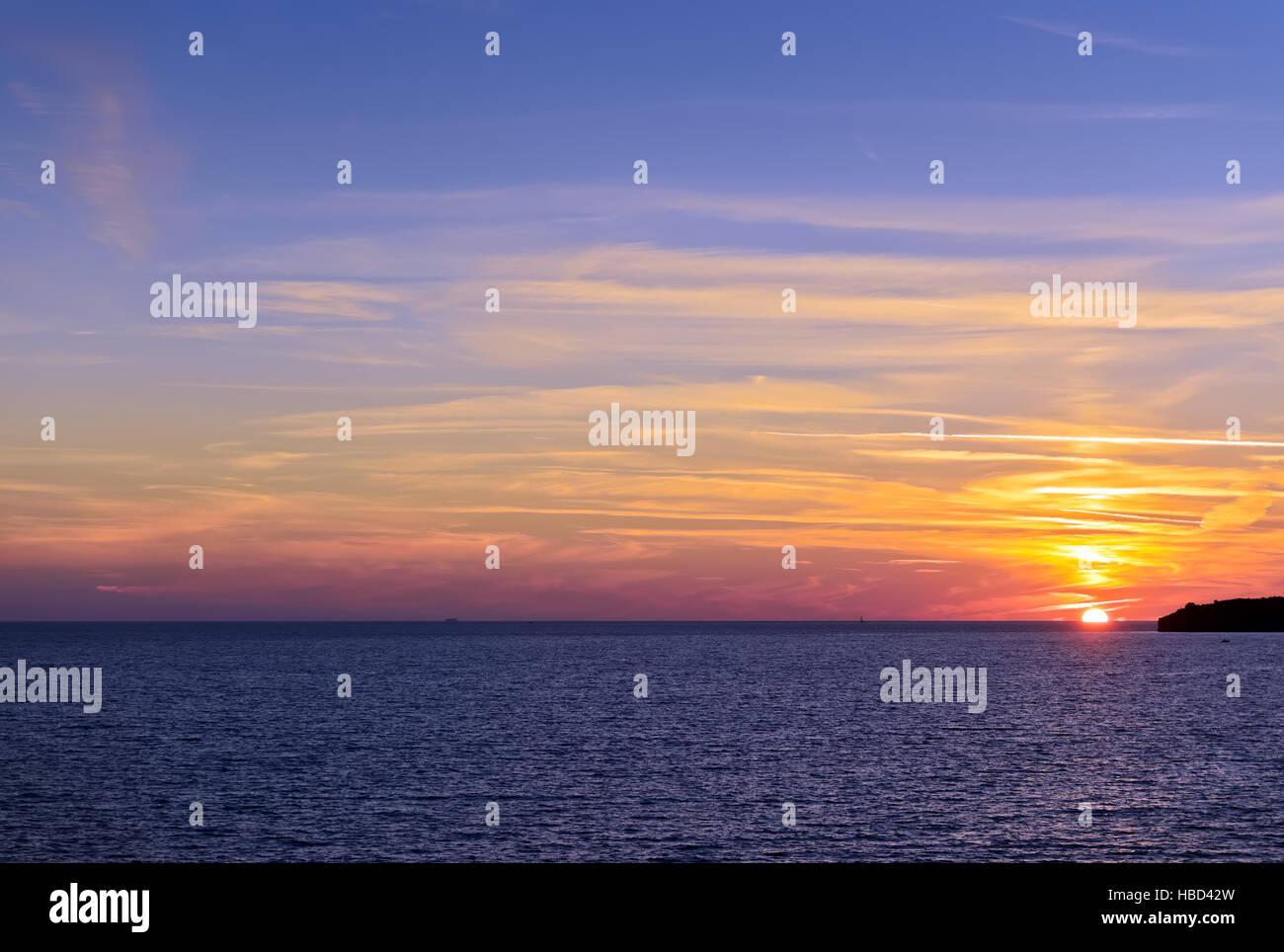 Beautiful sunset near Sveti Stefan, Montenergo, Adriatic sea - Stock Image